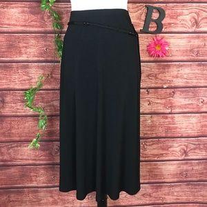 JM Collection Skirt 2X Black Slinky Jersey Macrame